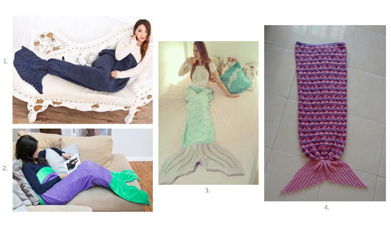 Foto: Reprodução / 1. Cobertor cauda de sereia por R$199,90 / 2. Cobertor com cauda de sereia por R$100,00 / 3. Cobertor por R$130,00 / Cobertor por R$ 250,00